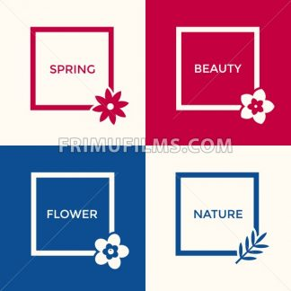Digital vector blue red flowers set icons with drawn simple line art info graphic, presentation with frames, spring beauty, square and floral elements around promo template, flat style - frimufilms.com