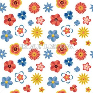 Digital vector blue red flowers set icons with drawn simple line art info graphic, seamless pattern, presentation with petals, branch and floral elements around promo template, flat style - frimufilms.com