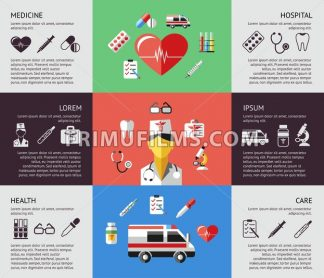 Digital vector blue red green pharmacy medical icons set with drawn simple line art info graphic, ambulance tooth pills nurse heart tubes syringe dropper first aid thermometer hospital, flat style - frimufilms.com