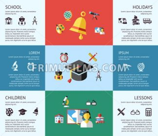 Digital vector blue red green school icons with drawn simple line art, children map globe hat bell clock pen ruler book apple girl boy pupil brush calculator bus lessons bag holidays, flat style - frimufilms.com