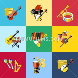 Digital vector blue red music instruments icons with drawn simple line art info graphic, presentation with guitar, piano, drums and sound elements around promo template, flat style - frimufilms.com
