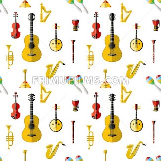 Digital vector blue red music instruments icons with drawn simple line art info graphic, seamless pattern, presentation with guitar, piano, drums and sound elements around promo template, flat style - frimufilms.com
