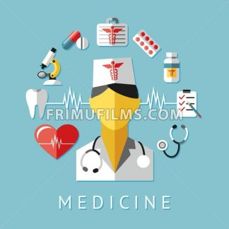 Digital vector blue red nurse pharmacy medical icons set with drawn simple line art info graphic, ambulance tooth pills tubes medicine dropper first aid thermometer hospital, flat style - frimufilms.com