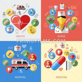 Digital vector blue red pharmacy medical icons set with drawn simple line art info graphic, ambulance tooth pills nurse heart tubes syringe medicine dropper first aid thermometer hospital, flat style - frimufilms.com