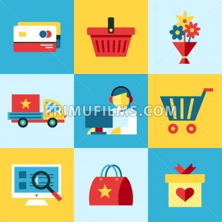 Digital vector blue red shopping sale icons with drawn simple line art info graphic, presentation with money, commerce and economy elements around promo template, flat style - frimufilms.com