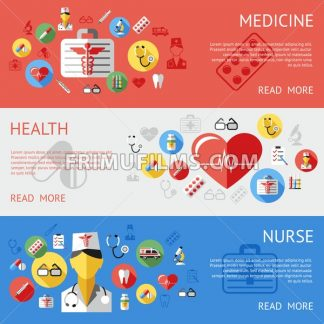 Digital vector blue red silver pharmacy medical icons set with drawn simple line art info graphic, ambulance tooth pills nurse heart tubes syringe medicine dropper first aid thermometer, flat style - frimufilms.com