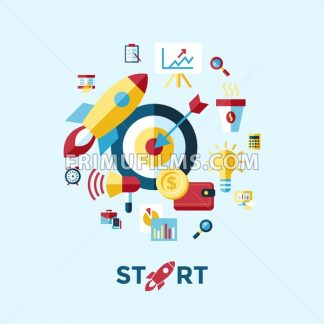 Digital vector blue red startup icons with drawn simple line art info graphic, presentation with rocket, project and business elements around promo template, flat style - frimufilms.com