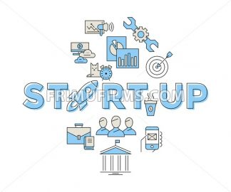 Digital vector blue red startup team icons with drawn simple line art info graphic, presentation with rocket, project and business elements around promo template, flat style - frimufilms.com