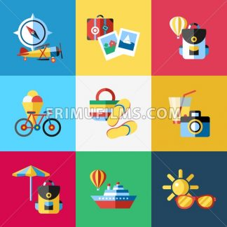 Digital vector blue red travel icons set with drawn simple line art info graphic poster promo, ship boat camera balloon luggage compass air plane map globe taxi card hotel bicycle free, flat style - frimufilms.com