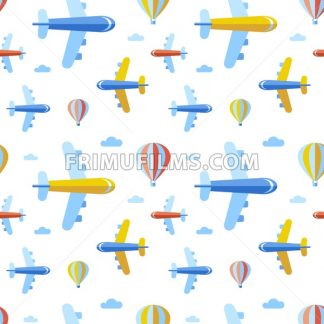 Digital vector blue red travel transport icons set with drawn simple line art info graphic, seamless pattern, presentation with balloon, plane and vehicle elements around promo template, flat style - frimufilms.com
