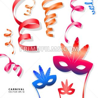 Digital vector blue red yellow carnival masks with drawn simple line art info graphic, presentation with ribbon strip and stars elements around promo template, flat - frimufilms.com