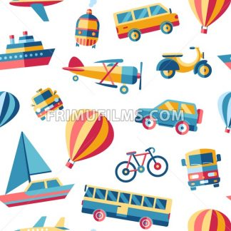 Digital vector blue red yellow city transport icons set with drawn simple line art info graphic, seamless pattern, presentation with car, train and bicycle elements around promo template, flat style - frimufilms.com