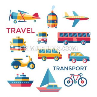 Digital vector blue red yellow travel transport icons set with drawn simple line art info graphic, presentation with car, tram and taxi elements around promo template, flat style - frimufilms.com