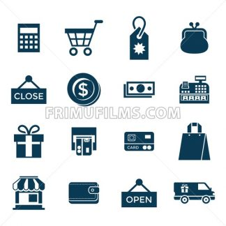 Digital vector blue shopping sale icons with drawn simple line art info graphic, presentation with money, commerce and economy elements around promo template, flat style - frimufilms.com