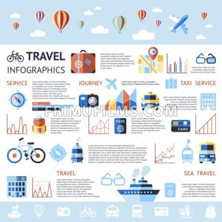 Digital vector blue summer time travel icons set with drawn simple line art info graphic poster promo, ship boat camera balloon compass air plane map globe taxi card hotel, flat style - frimufilms.com