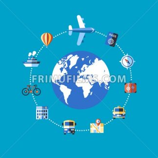 Digital vector blue travel icons set with drawn simple line art info graphic poster promo, ship boat camera balloon luggage compass air plane map globe taxi card hotel bicycle free, flat style - frimufilms.com