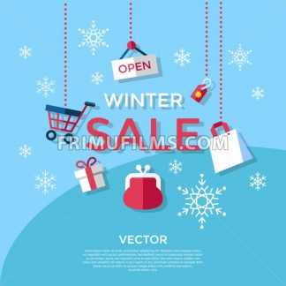 Digital vector blue winter sale shopping icons with drawn simple line art info graphic, presentation with money, commerce and economy elements around promo template, flat style - frimufilms.com