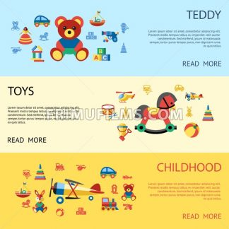 Digital vector blue yellow children toys icons with drawn simple line art info graphic, presentation with bear, plane and bunny childhood elements around promo template, flat - frimufilms.com