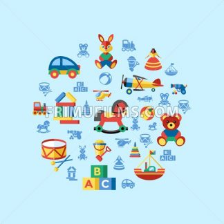 Digital vector blue yellow children toys icons with drawn simple line art info graphic, presentation with bear, plane and bunny elements around promo template, flat - frimufilms.com