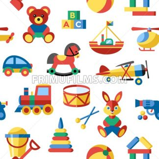 Digital vector blue yellow children toys icons with drawn simple line art info graphic, seamless pattern, presentation with bear, plane and bunny elements around promo template, flat - frimufilms.com