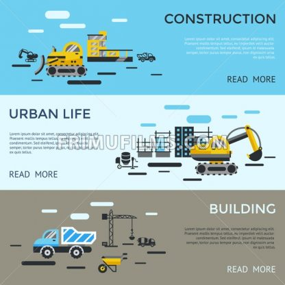 Digital vector blue yellow construction building tracks icons with drawn simple line art info graphic, presentation with crane, road, grout, excavator and cement elements around promo template - frimufilms.com