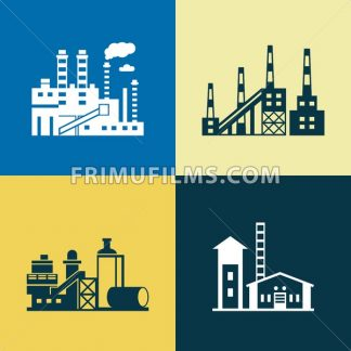 Digital vector blue yellow factory pollution icons with drawn simple line art info graphic, presentation with plant, smoke, environment and energy elements around promo template, flat style - frimufilms.com