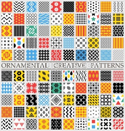 Digital vector color geometric universal different seamless patterns with swatch tiling endless texture, for web and decorative ornaments - frimufilms.com