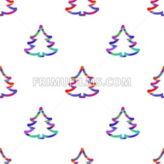 Digital vector color happy new year merry christmas icons with drawn simple line art info graphic, seamless pattern, presentation with tree and stars elements around promo template, flat style - frimufilms.com