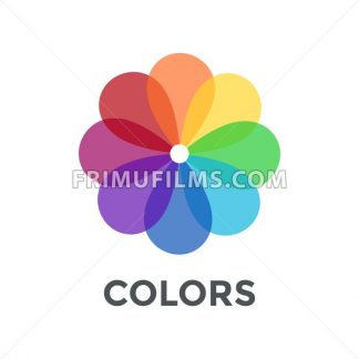 Digital vector color wheel spectrum flowe rainbow circle, flat style - frimufilms.com