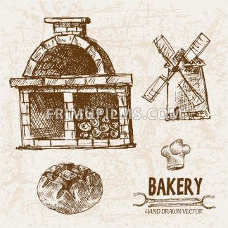 Digital vector detailed line art bakery and bread hand drawn retro illustration collection set, stove oven. Thin artistic pencil outline. Vintage ink flat, engraved simple doodle sketches. Isolated - frimufilms.com