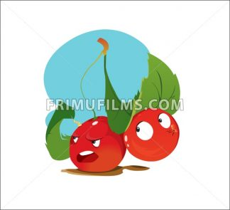 Digital vector funny cartoon anger and happy red cherry sisters with green leaves, happy and mad, abstract flat style - frimufilms.com