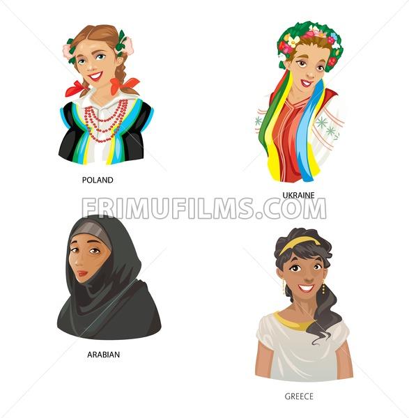 Digital vector funny cartoon arabian muslim, greece, ukraine and poland women set, abstract flat style - frimufilms.com