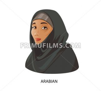 Digital vector funny cartoon arabian muslim woman in black dress dark face, abstract flat style - frimufilms.com
