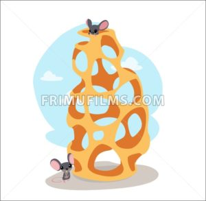 Digital vector funny cartoon cheese labyrinth with happy mice on top and at the bottom, abstract flat style - frimufilms.com