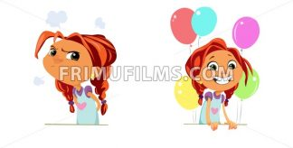 Digital vector funny cartoon happy and sad cute young kid girl with big head and red hair, multicolor balloons, abstract flat style - frimufilms.com