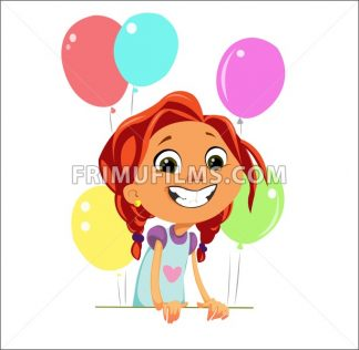 Digital vector funny cartoon happy cute young kid girl with big head and red hair, multicolor balloons, abstract flat style - frimufilms.com