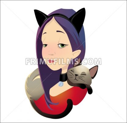 Digital vector funny cartoon purple red cat woman character with a cat lying and sleeping at the neck as neckerchief, abstract flat style - frimufilms.com