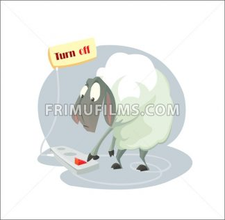 Digital vector funny cartoon sheep character trying a gadget and pushing a red turn off button, abstract flat style - frimufilms.com