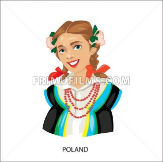 Digital vector funny cartoon smiling poland woman in national dress with beads, flowers in hair, abstract flat style - frimufilms.com