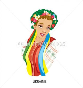 Digital vector funny cartoon smiling ukraine woman in national dress, flowers in hair, abstract flat style - frimufilms.com