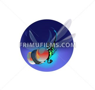 Digital vector funny comic cartoon big blue fly insect flying with wings and red eyes, hand drawn illustration, abstract realistic flat style - frimufilms.com