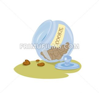 Digital vector funny comic cartoon big blue jar glass with cookies and biscuits in shape of heart, hand drawn illustration, abstract realistic flat style - frimufilms.com