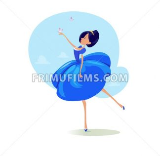 Digital vector funny comic cartoon fairytale princess girl in blue dress dancing with butterflyes at a ball, royal shoes and collar, hand drawn illustration, abstract realistic flat style - frimufilms.com