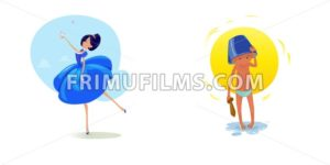 Digital vector funny comic cartoon fairytale princess girl in blue dress dancing with butterflyes at a ball, royal shoes and collar, small kid with a blue buck on head, hand drawn illustration - frimufilms.com