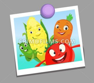 Digital vector funny comic cartoon happy family vegetables smiling in a selfie picture photo, cucumber carrot tomatoe and corn, hand drawn illustration, abstract realistic flat style - frimufilms.com