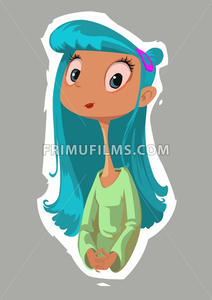 Digital vector funny comic cartoon happy kid fairytale girl with blue hair and very long comic neck, brown skin green dress, hand drawn illustration, abstract realistic flat style - frimufilms.com