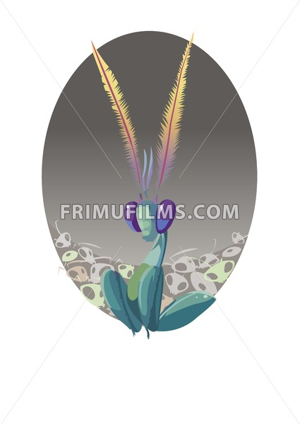 Digital vector funny comic cartoon lord of fly insects in center of dead ghost animals, feathers, hand drawn illustration, realistic flat style - frimufilms.com