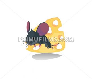 Digital vector funny comic cartoon mouse with purple ears walking and jumping on a slice of cheese with holes, moustache, hand drawn illustration, abstract realistic flat style - frimufilms.com