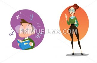 Digital vector funny comic cartoon stylish teacher with glasses and a book explaining the lesson, smart kid genius, hand drawn illustration, abstract realistic flat style - frimufilms.com