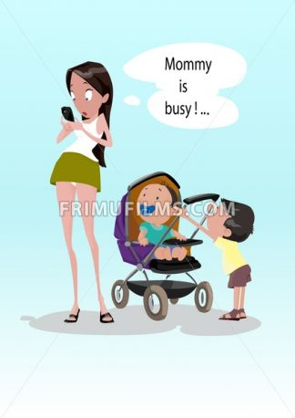 Digital vector funny comic cartoon young surprised woman starring at mobile phone ignoring small children kids, mommy is busy, nipple and baby stroller, hand drawn illustration, realistic flat style - frimufilms.com